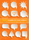 Abstract vector white speech bubbles set on orange background Stock Photos