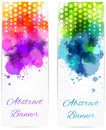 Abstract vertical banners with modern design two color splashes and dots Stock Image