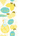 Abstract vertical border with lemon and homemade lemonade, lettering elements and splash on the white background. Royalty Free Stock Photo