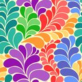 Abstract vibrant hippie 60s seamless vector pattern