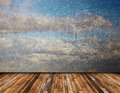 Abstract view of distressed sky from terrace beautiful vintage wooden nature backdrop Stock Photo
