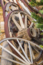 Abstract of Vintage Antique Wood Wagon Wheels. Royalty Free Stock Photo