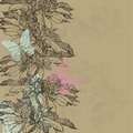 Abstract vintage background with flowers and butterflies vector Royalty Free Stock Photo