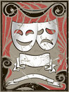 Abstract vintage background with theater masks Royalty Free Stock Photos