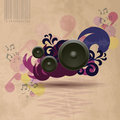 Abstract vintage music background with speakers Royalty Free Stock Photo
