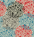 Abstract vintage seamless background with circles of dots. Retro grunge pattern