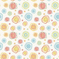 Abstract vintage vector seamless pattern color c kawaii curves circles on a light background eps Royalty Free Stock Photography