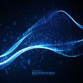 Abstract virtual digital wave of binary code particles Royalty Free Stock Photo