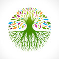 Abstract vitality tree logo illustration of multicolored round design Stock Photography