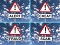Abstract warning signs set of alert cheat fraud and scam with blue sky and cloudscape backgrounds Stock Photography