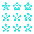 Abstract water pentagonal molecule logo template set computer water hi tech biological organization mobility physics chemistry Stock Photo