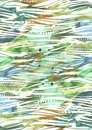 Abstract watercolor background with green and blue brush strokes in stripe texture hand drawn with freehand blobs, splashes and bl Royalty Free Stock Photo