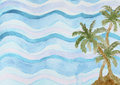 Abstract watercolor background with sea palms Royalty Free Stock Photo