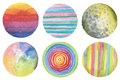 Abstract circle watercolor painted background. Paper textur