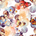 Abstract watercolor circles and butterfly seamless pattern Royalty Free Stock Photo
