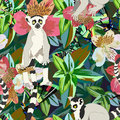 Abstract watercolor draw two lemur striped white black, background tropical forest Royalty Free Stock Photo