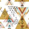 Abstract watercolor and glitter textured ethnic seamless pattern.