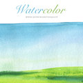 Abstract watercolor hand painted landscape background. Royalty Free Stock Photo
