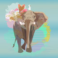 Abstract watercolor illustration of a big elephant with small white bird