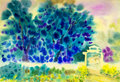 Abstract  watercolor original landscape painting  colorful  blue tree and emotion Royalty Free Stock Photo