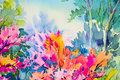 Abstract watercolor original painting colorful of beauty flowers.