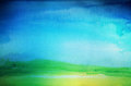 Abstract watercolor painted landscape background. Textured
