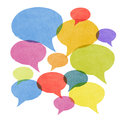 Abstract watercolor painted speech bubbles a set of textured in various sizes and colors all overlapping symbolizing gossip social Royalty Free Stock Image
