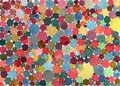 Abstract watercolor polka dots/circles multicolored pattern