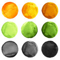 Abstract watercolor round painted backgrounds, blobs of blue, yellow, orange, black colors Royalty Free Stock Photo