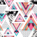 Abstract watercolor triangle seamless pattern.
