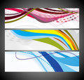 Abstract wave banners multi-colored Stock Photo