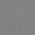 Abstract waves black and white optical art striped wavy background, zebra texture