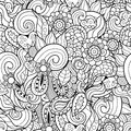 Abstract waves and flowers hand-drawn seamless pattern