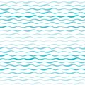 Abstract waves vector seamless pattern. Wavy lines of sea or ocean hand drawn background Royalty Free Stock Photo