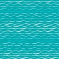Abstract waves vector seamless pattern. Wavy lines of sea or ocean blue hand drawn background