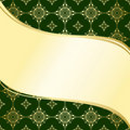 Abstract wavy green and gold vector background Stock Photography