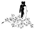 Abstract Wedding Pattern Bride and Groom Silhouette Royalty Free Stock Photo