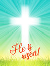 Abstract white cross with rays and text He is risen, christian easter motive, illustration Royalty Free Stock Photo