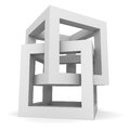 Abstract White Cube Structure ...