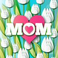 Abstract White Floral Greeting card - Happy Mothers Day - MOM- and pink hearts with Bunch of Spring Tulips. Royalty Free Stock Photo