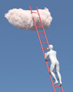 Abstract white man climbs to the cloud in sky Royalty Free Stock Image