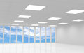 Abstract white office d interior with blue sky behind the windows Royalty Free Stock Images