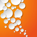 Abstract white paper circles on orange background vector eps illustration Royalty Free Stock Photography