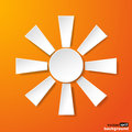 Abstract white paper sun on orange background vector eps illustration Stock Images