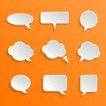 Abstract white speech bubbles set vector on orange background Royalty Free Stock Photos