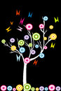 Abstract white tree with stylized fruits and butterflies over black background Stock Photography