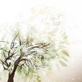 Abstract winter background with tree and snow vector foliage Royalty Free Stock Images