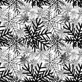Abstract winter black and white seamless pattern. Snow forest te Royalty Free Stock Photo