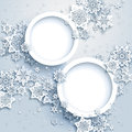 Abstract winter design with snowflakes and circles Royalty Free Stock Photos