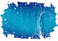 Abstract winter grunge background with flakes and scrolls Royalty Free Stock Photography